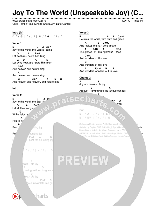 Joy To The World (Unspeakable Joy) (Choral) Chords & Lyrics (Chris Tomlin / PraiseCharts Choral)