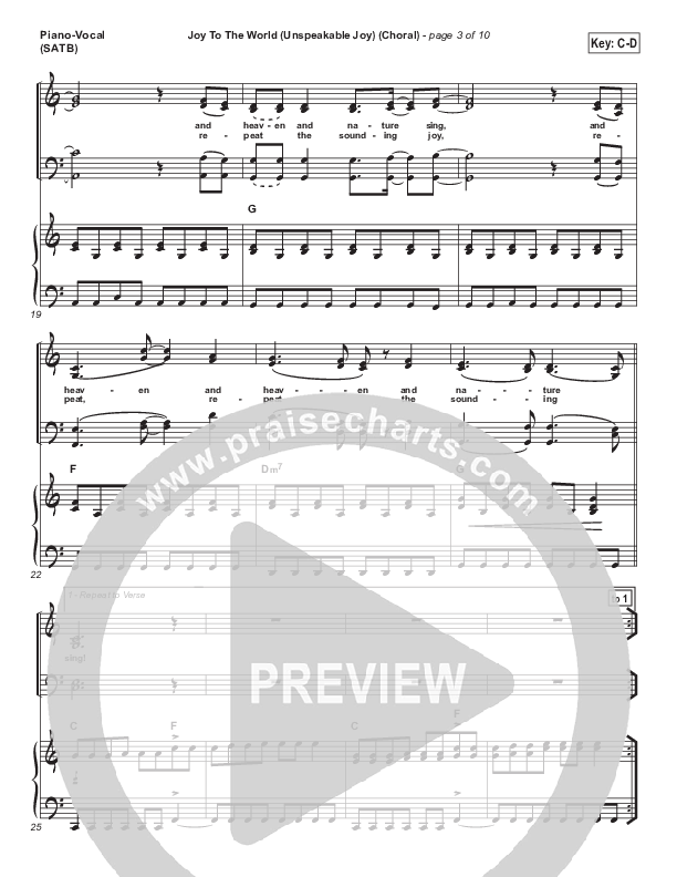 Joy To The World (Unspeakable Joy) (Choral) Piano/Vocal (SATB) (Chris Tomlin / PraiseCharts Choral / Arr. Luke Gambill)