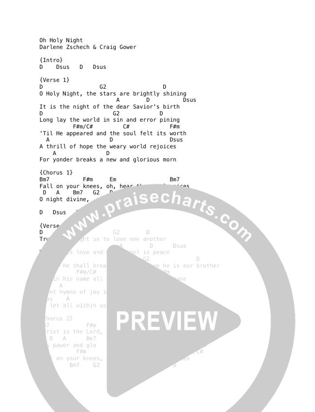 O Holy Night Chord Chart (Darlene Zschech / HopeUC)