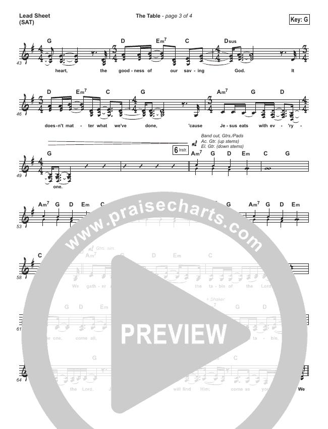 The Table Lead Sheet (Darlene Zschech / HopeUC)