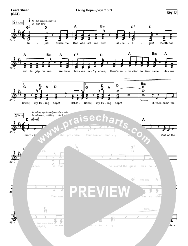 Living Hope (Choral) Piano/Vocal (SATB) (Phil Wickham / PraiseCharts Choral)