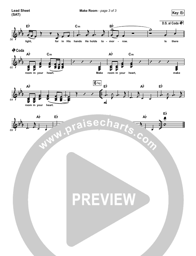 Make Room (Choral) Lead & Piano/Vocal (Casting Crowns / PraiseCharts Choral)
