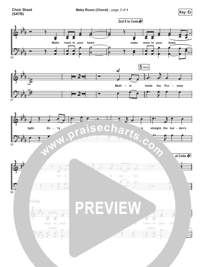 Make Room (Choral) Choir Sheet (SATB) (Casting Crowns / PraiseCharts Choral)