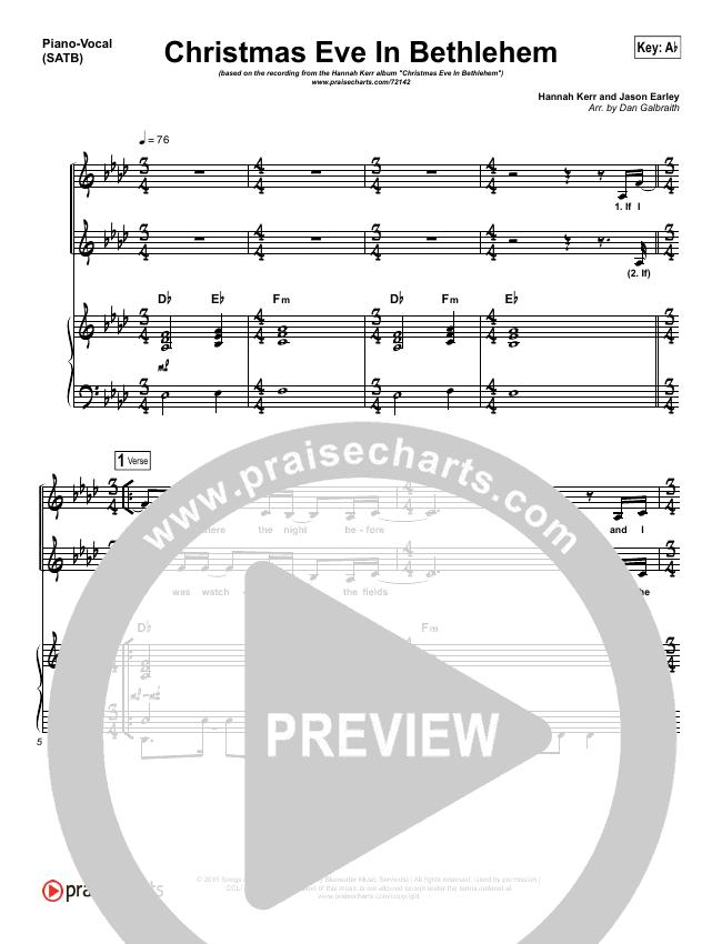 Christmas Eve In Bethlehem Piano/Vocal (SATB) (Hannah Kerr)