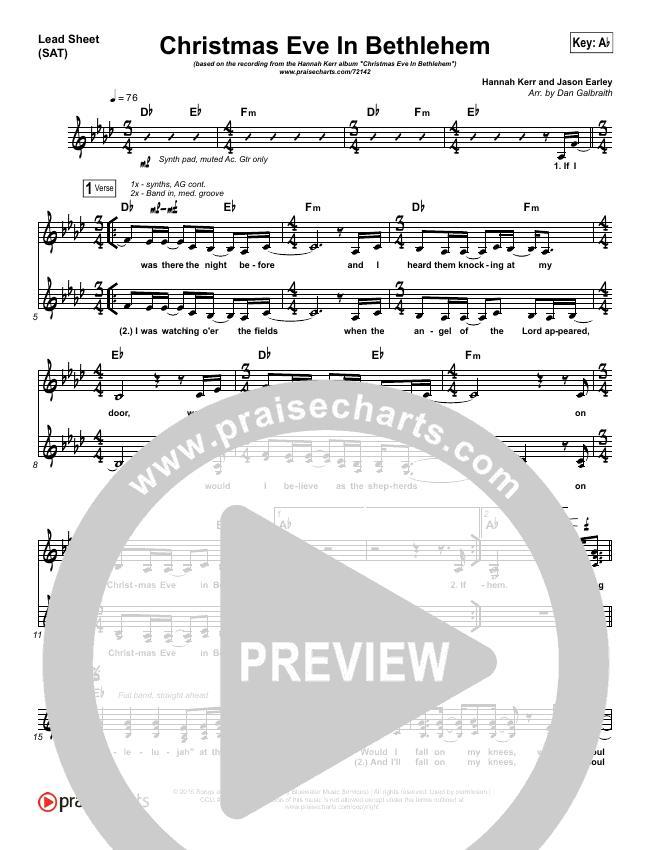 Christmas Eve In Bethlehem Lead & Piano/Vocal (Hannah Kerr)