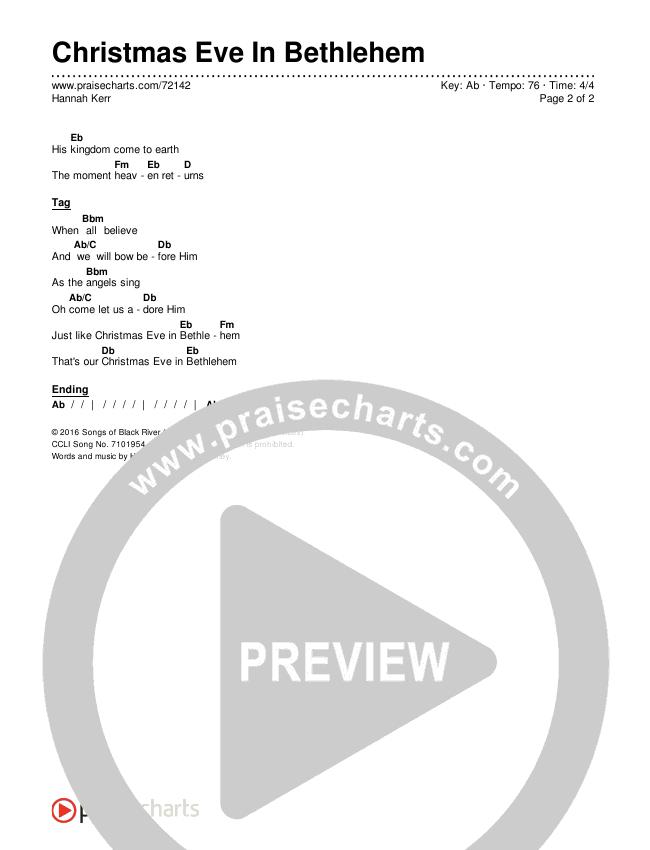 Christmas Eve In Bethlehem Chords & Lyrics (Hannah Kerr)