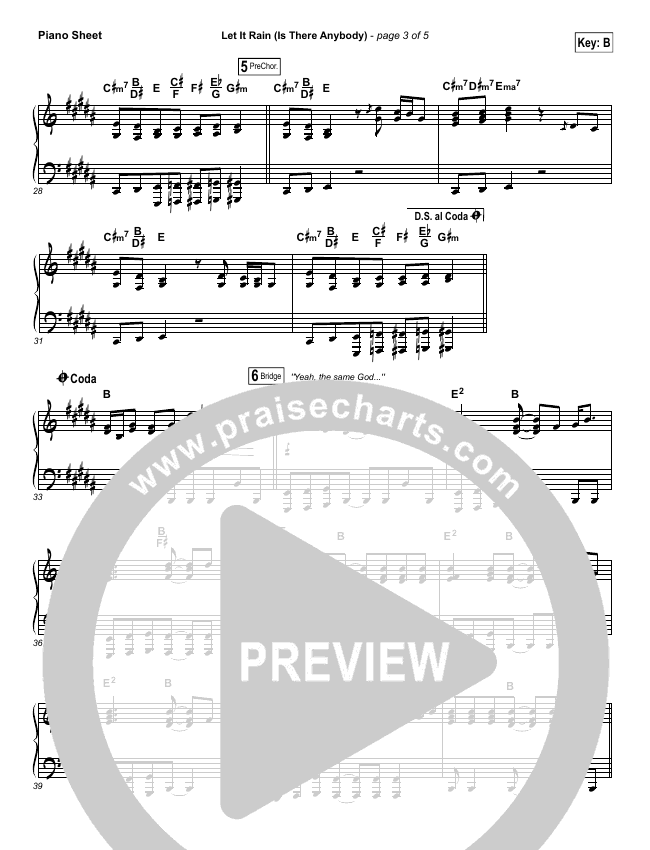 Let It Rain (Is There Anybody) Piano Sheet (Mandisa / Crowder)