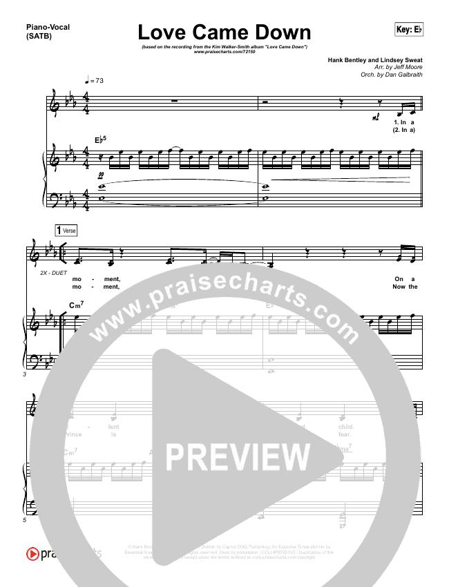 Love Came Down Lead & Piano/Vocal (Kim Walker-Smith)
