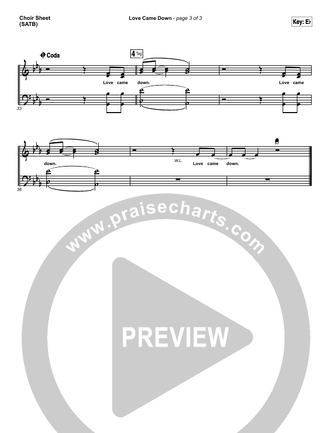 Love Came Down Choir Sheet (SATB) (Kim Walker-Smith)
