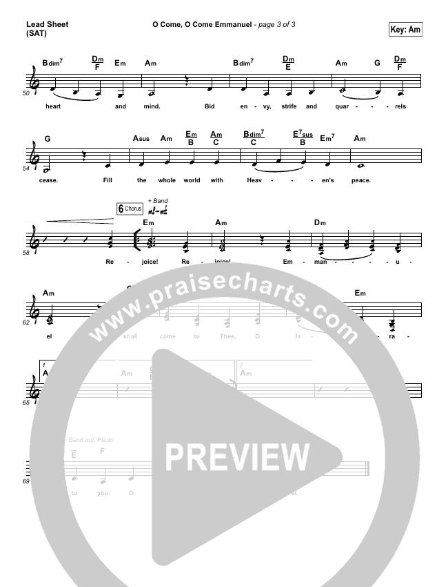 O Come O Come Emmanuel Lead Sheet (SAT) (Lauren Daigle)