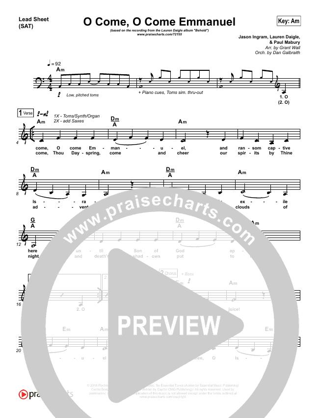 O Come O Come Emmanuel Lead & Piano/Vocal (Lauren Daigle)