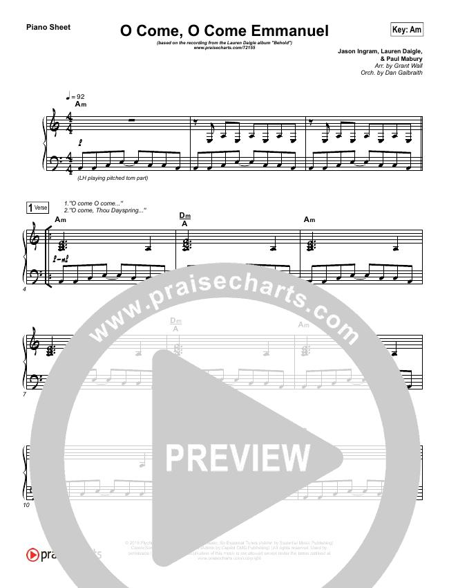 O Come O Come Emmanuel Piano Sheet (Lauren Daigle)