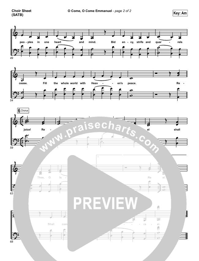 O Come O Come Emmanuel Choir Sheet (SATB) (Lauren Daigle)