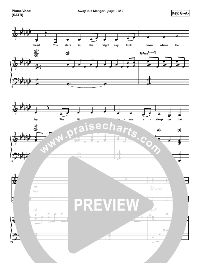 Away In A Manger Piano/Vocal (SATB) (Lauren Daigle)