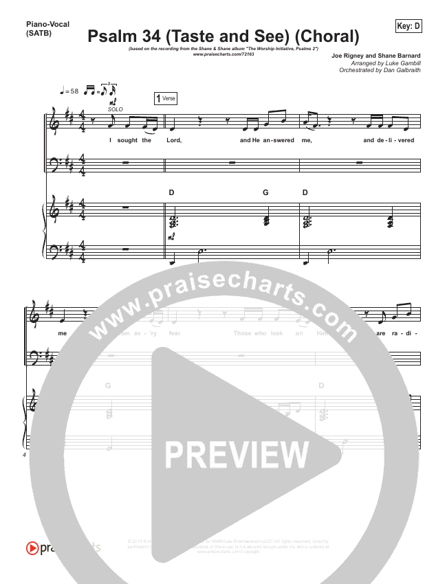 Psalm 34 (Taste and See) (Choral) Orchestration (The Worship Initiative / Shane & Shane / PraiseCharts Choral)