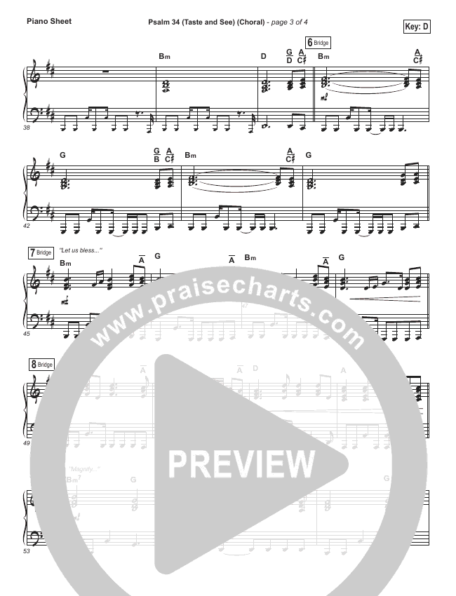 Psalm 34 (Taste and See) (Choral) Piano Sheet (The Worship Initiative / Shane & Shane / PraiseCharts Choral)