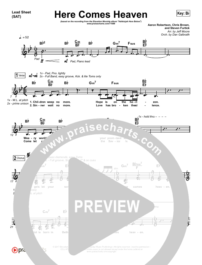 Here Comes Heaven (Choral) Piano/Vocal Pack (Choral) (Elevation Worship / PraiseCharts Choral / Arr. Luke Gambill)