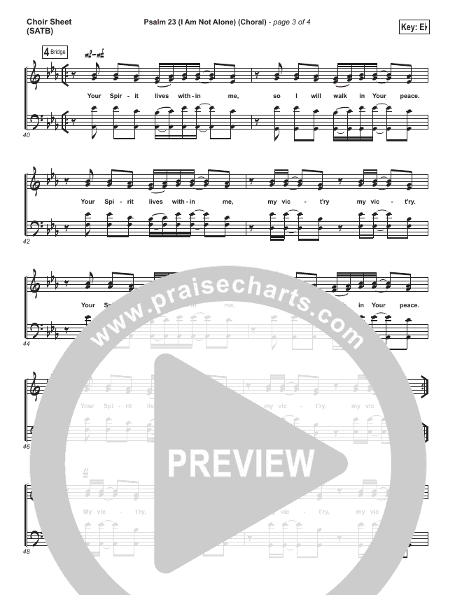 Psalm 23 (I Am Not Alone) (Choral) Choir Sheet (SATB) (People & Songs / PraiseCharts Choral)