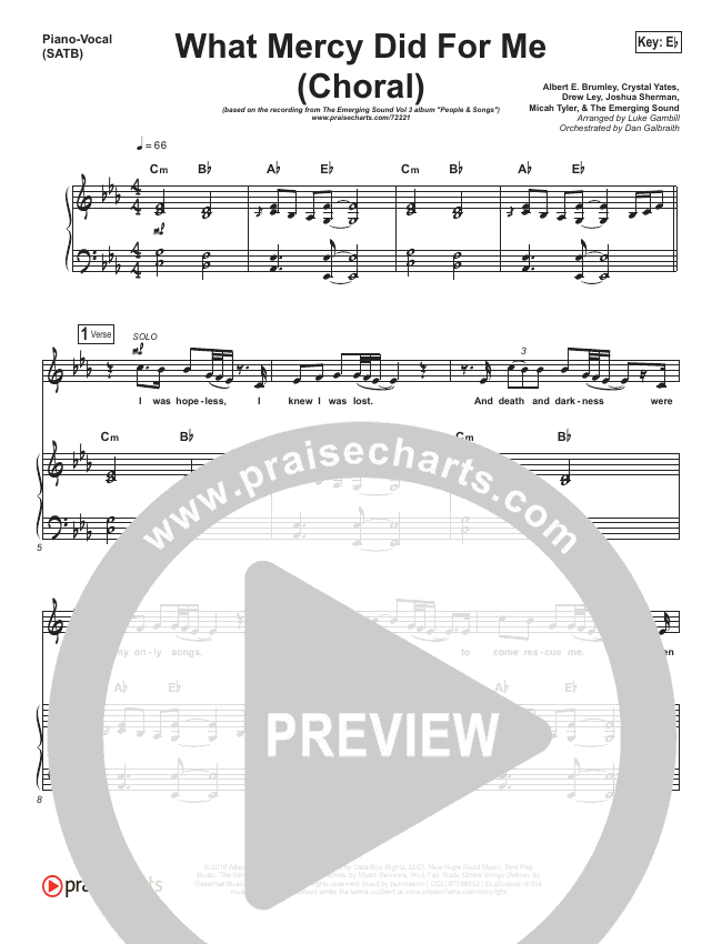 What Mercy Did For Me (Choral) Orchestration (PraiseCharts Choral / People & Songs / Crystal Yates / Micah Tyler / Joshua Sherman / Arr. Luke Gambill)