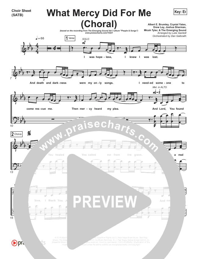 What Mercy Did For Me (Choral) Choir Sheet (SATB) (PraiseCharts Choral / People & Songs / Crystal Yates / Micah Tyler / Joshua Sherman / Arr. Luke Gambill)
