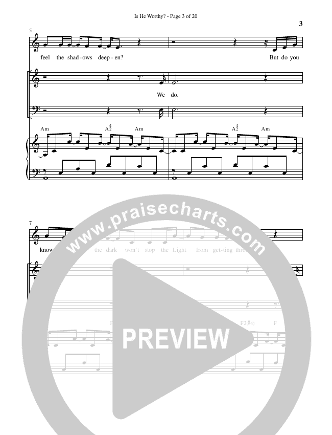Is He Worthy (Choral) Piano Vocal (Brentwood Benson Choral / Arr. Russell Mauldin)