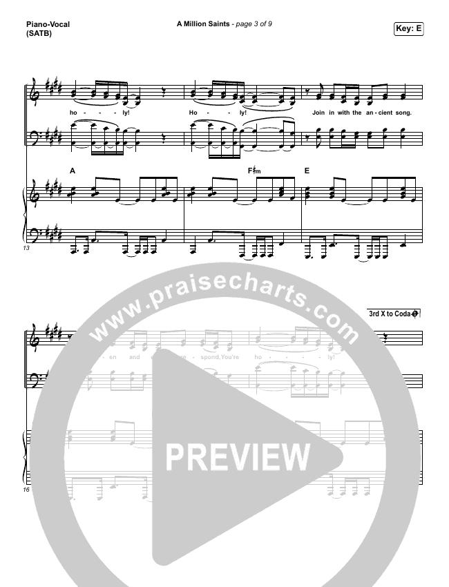 A Million Saints Piano/Vocal (SATB) (Meredith Andrews)