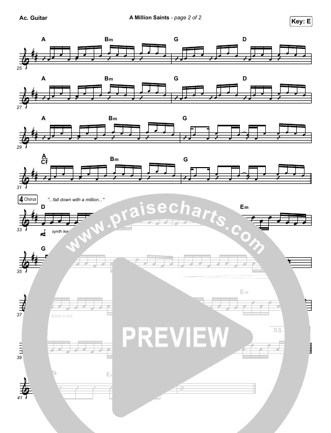 A Million Saints Rhythm Chart (Meredith Andrews)