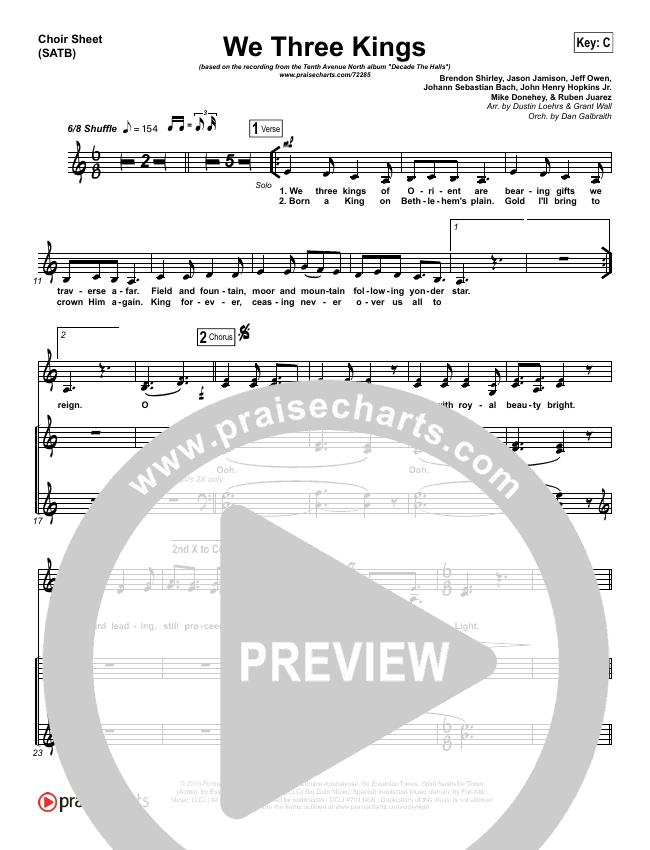 We Three Kings Choir Sheet (SATB) (Tenth Avenue North / Britt Nicole)