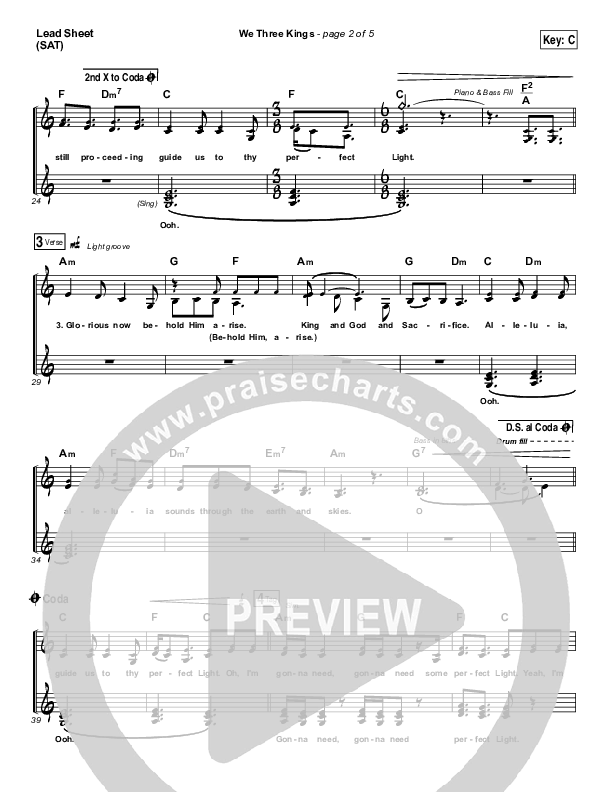 We Three Kings Lead & Piano/Vocal (Tenth Avenue North / Britt Nicole)