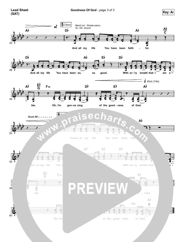 Goodness Of God Lead Sheet (SAT) (Bethel Music / Jenn Johnson)
