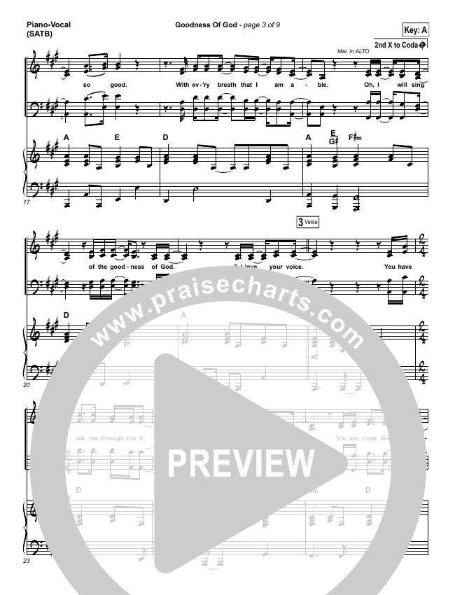 Goodness Of God Piano/Vocal (SATB) (Bethel Music / Jenn Johnson)