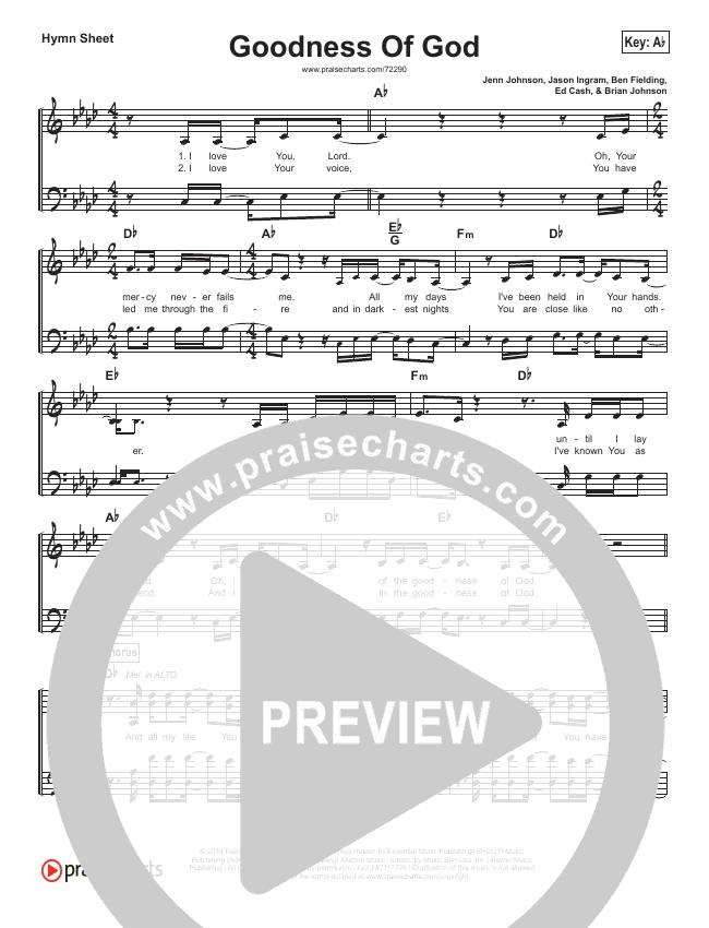 Goodness Of God Hymn Sheet (Bethel Music / Jenn Johnson)