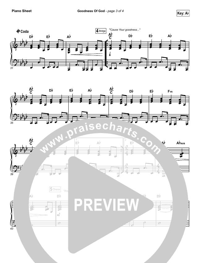 Goodness Of God Piano Sheet (Bethel Music / Jenn Johnson)