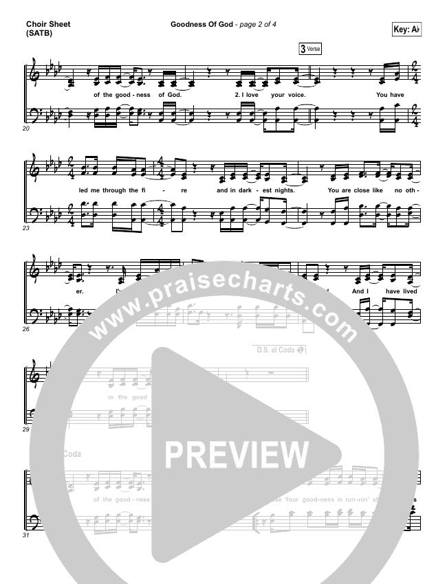 Goodness Of God Choir Sheet (SATB) (Bethel Music / Jenn Johnson)