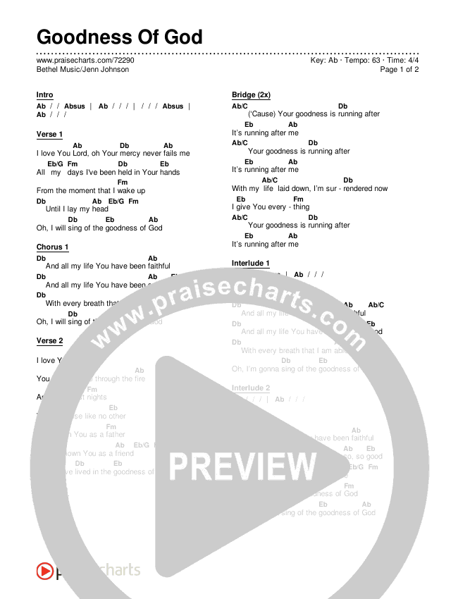 Goodness Of God Chords & Lyrics (Bethel Music / Jenn Johnson)