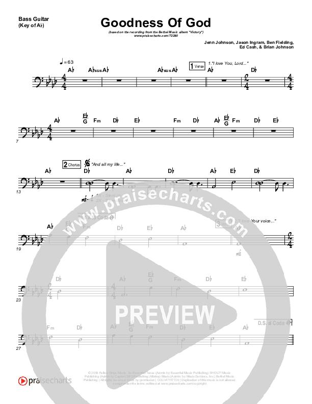 Goodness Of God Bass Guitar (Bethel Music / Jenn Johnson)
