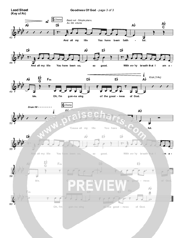 Goodness Of God Lead Sheet (Melody) (Bethel Music / Jenn Johnson)