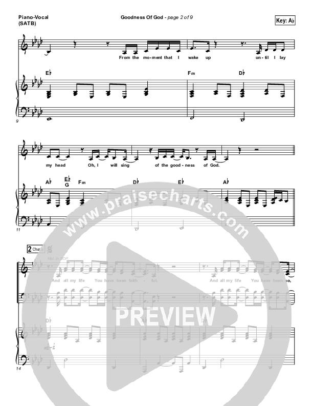 Goodness Of God Piano/Vocal (SATB) (Bethel Music / Jenn Johnson)