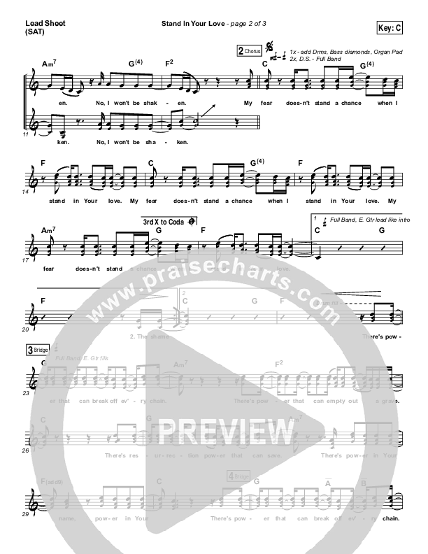Stand In Your Love Lead Sheet (SAT) (Bethel Music / Josh Baldwin)
