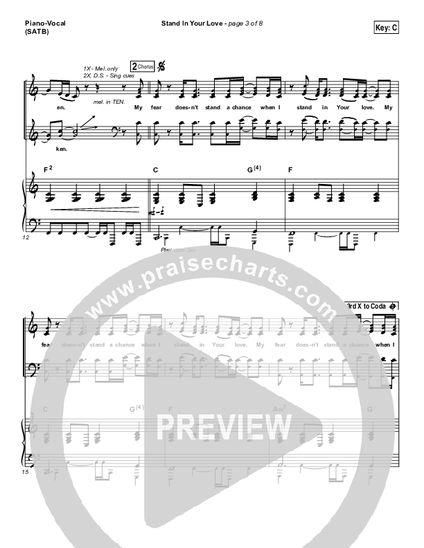 Stand In Your Love Piano/Vocal (SATB) (Bethel Music / Josh Baldwin)