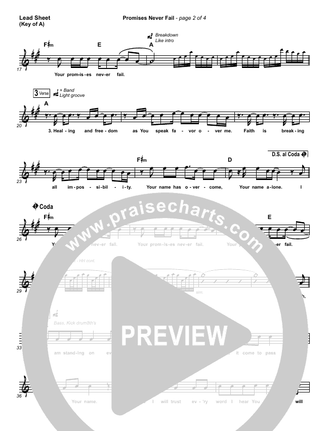 Promises Never Fail Lead Sheet (Melody) (Bethel Music / Emmy Rose)