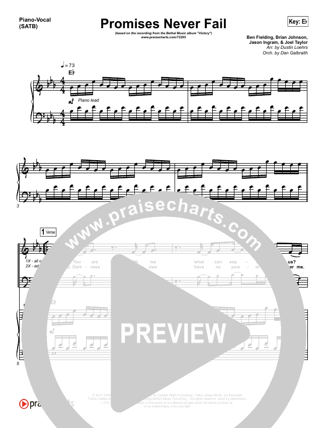 Promises Never Fail Piano/Vocal (SATB) (Bethel Music / Emmy Rose)