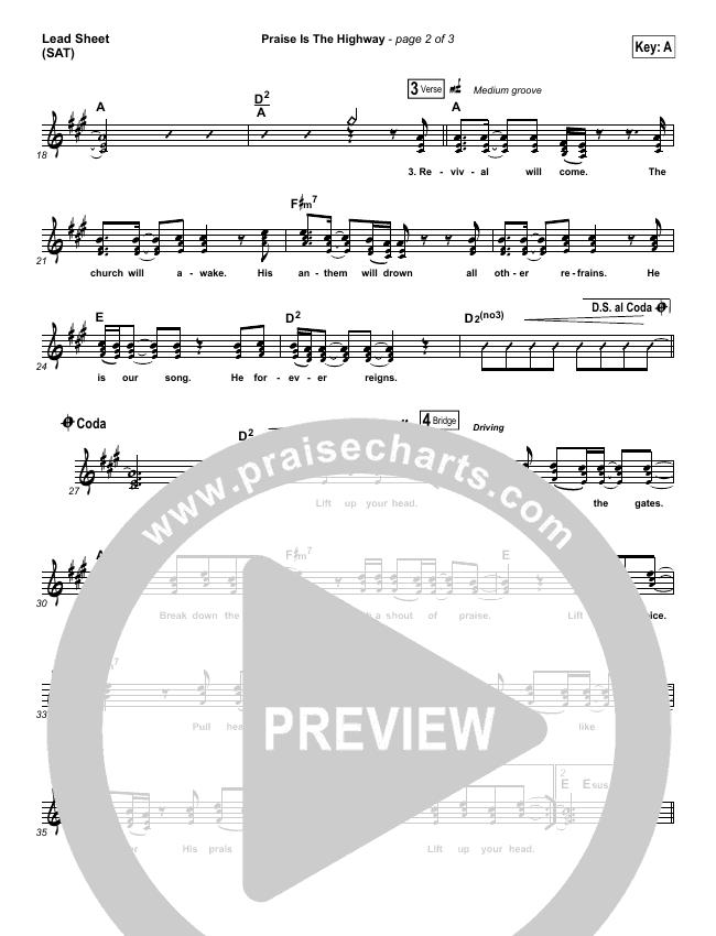 Praise Is The Highway Lead Sheet (SAT) (Bethel Music / Brian Johnson)