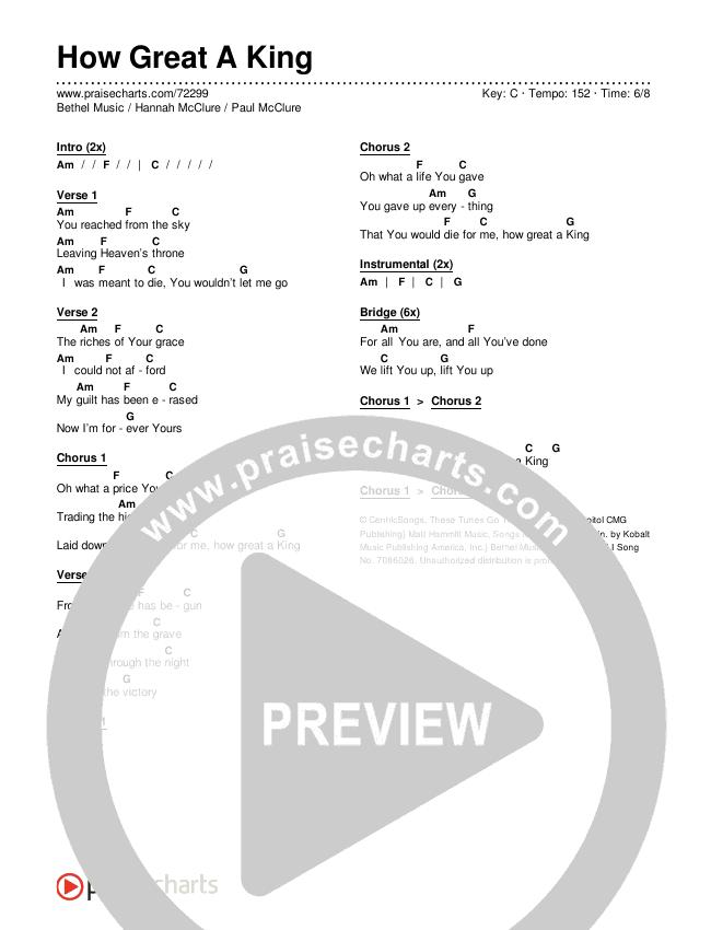 How Great A King Chords & Lyrics (Bethel Music / Hannah McClure / Paul McClure)