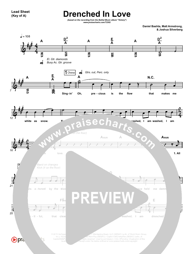 Drenched In Love Lead Sheet (Melody) (Bethel Music / Daniel Bashta / Harvest)