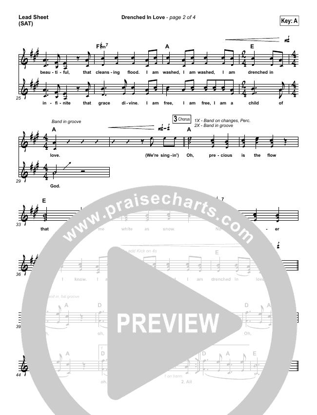 Drenched In Love Lead Sheet (SAT) (Bethel Music / Daniel Bashta / Harvest)