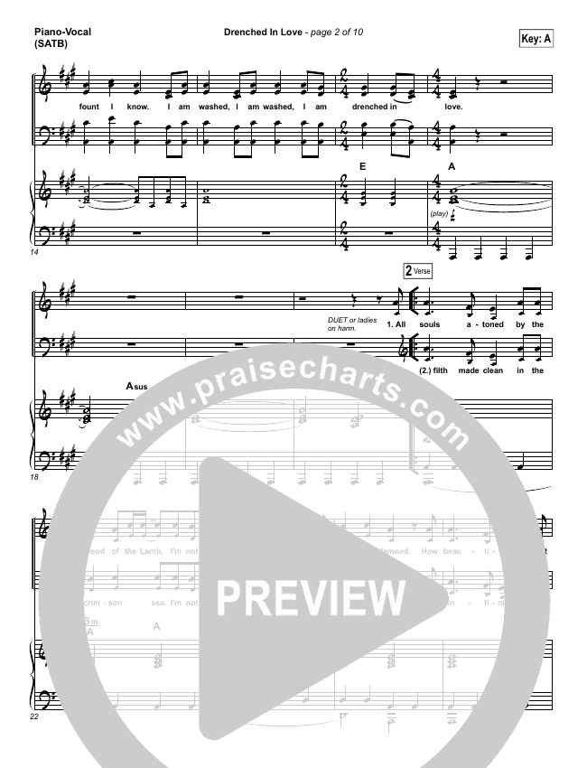 Drenched In Love Piano/Vocal (SATB) (Bethel Music / Daniel Bashta / Harvest)