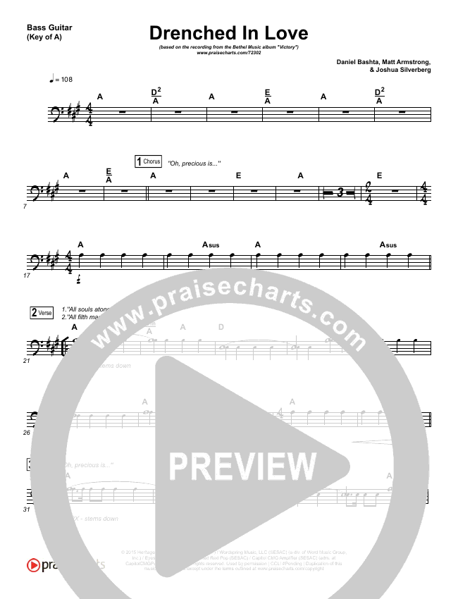 Drenched In Love Bass Guitar (Bethel Music / Daniel Bashta / Harvest)