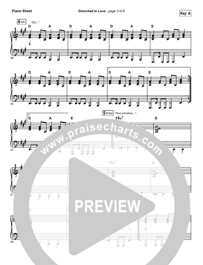Drenched In Love Piano Sheet (Bethel Music / Daniel Bashta / Harvest)