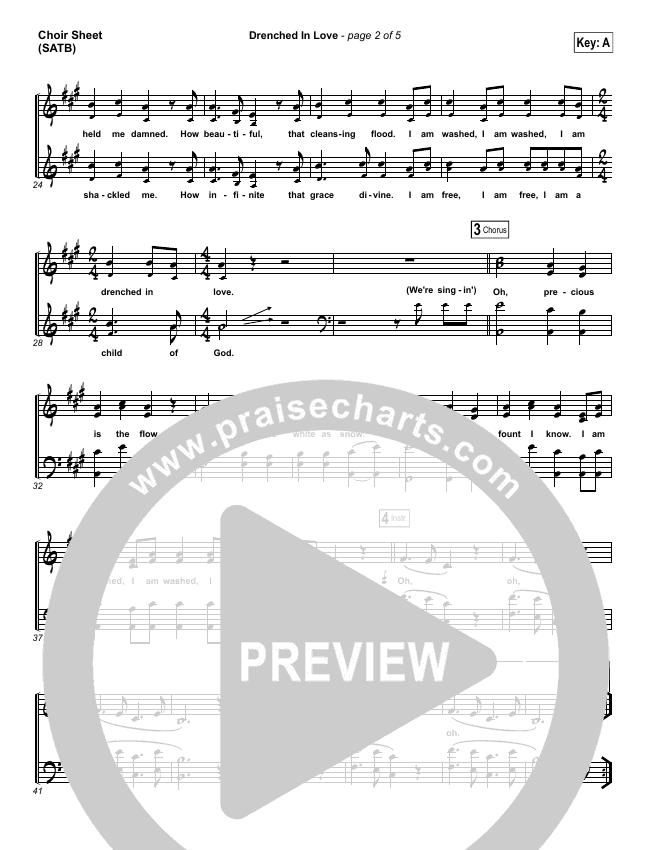 Drenched In Love Choir Sheet (SATB) (Bethel Music / Daniel Bashta / Harvest)